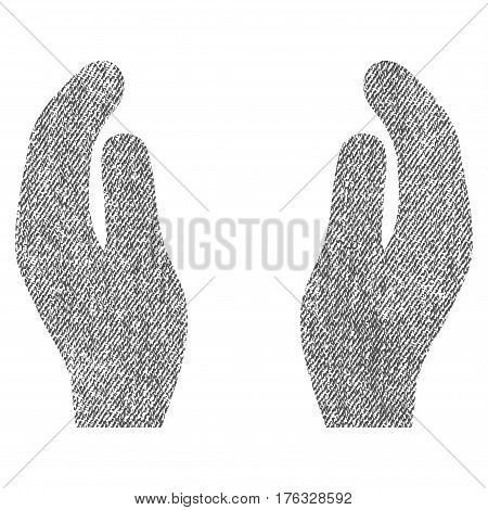 Applause Hands vector textured icon for overlay watermark stamps. Fabric gray vectorized texture. Symbol with dirty design. Rubber seal stamp with fiber textile structure.