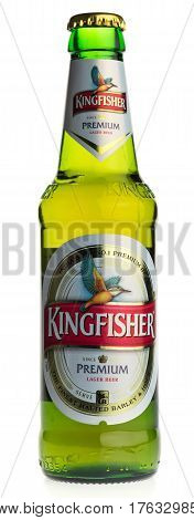GRONINGEN, NETHERLANDS - MARCH 14, 2017: Bottle of Indian Kingfisher Lager beer isolated on a white background