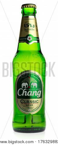 GRONINGEN, NETHERLANDS - MARCH 14, 2017: Bottle of Thai Chang Classic beer isolated on a white background