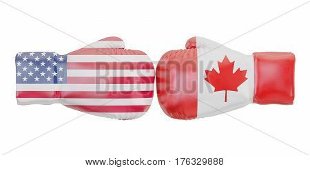 Boxing gloves with USA and Canada flags. Governments conflict concept 3D rendering