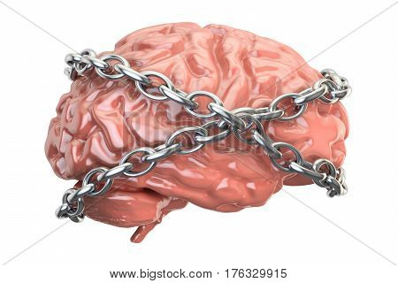 Chained brain 3D rendering isolated on white background