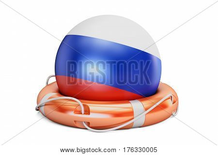 Lifebelt with Russia flag safe help and protect concept. 3D rendering