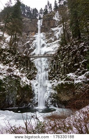 Freezing Multnomah Falls