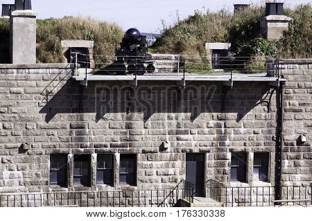 Halifax, Nova Scotia, September 23, 2015 -- Wide view of the fortress canon wall at the Citadel in Halifax, Nova Scotia on a bright sunny day in September