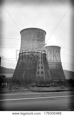 Black and white Cooling towers of thermal power plant near Deva