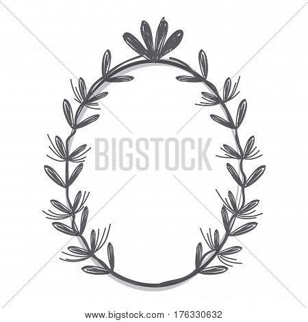 rustic emblem branches icon, vector illustration desin