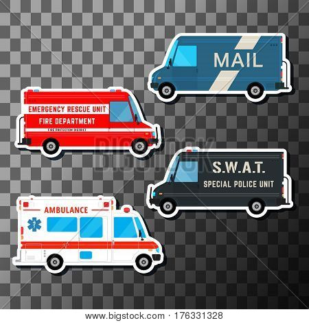 Set of service vans. Various city urban traffic vehicles. Mail delivery, fire department, police swat bus and ambulance truck. Vector illustration.