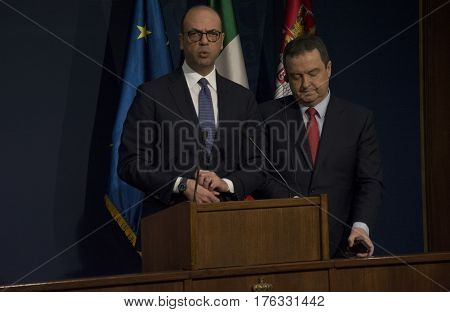Belgrade, Serbia. March 14Th 2017 - Official Visit Of Italian Foreign Minister Angelino Alfano To Se