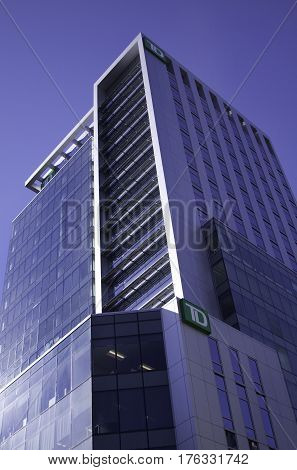 Halifax, Nova Scotia, September 23, 2015 -- Perspective shot looking up at the brand-new TD building in Halifax, Nova Scotia on a bright sunny day in September