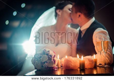 wedding kiss Bridal couple sorrounding by fireworks