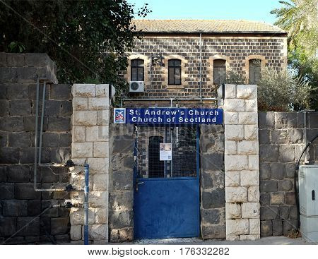TIBERIAS ISRAEL - FEBRUARY 26 2017: Scottish Church of St. Andrew in Tiberias