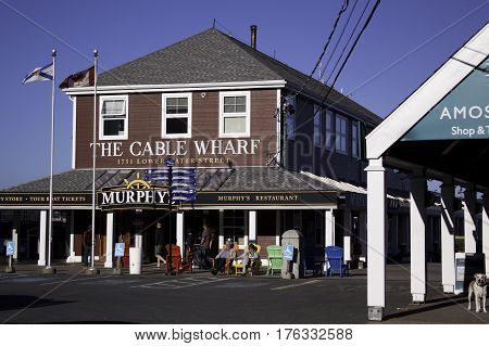 Halifax, Nova Scotia, September 23, 2015 -- Photo of the Cable Wharf Restaurant and tourist outlet in Halifax, Nova Scotia on a bright sunny day in September