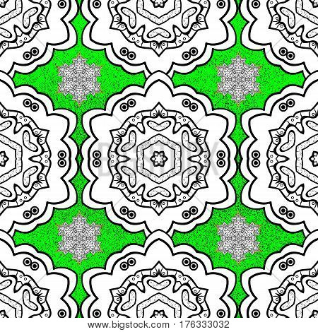 White floral ornament in baroque style. White element on green background. Antique whiteen repeatable sketch. Damask rough repeating pattern.