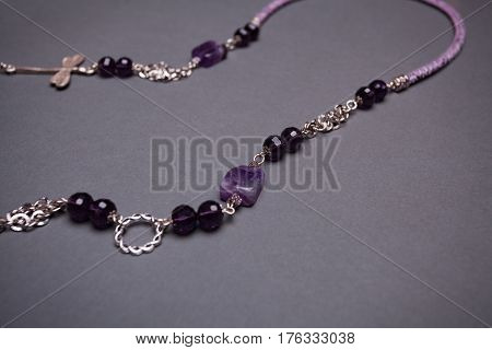Purple Gemstone and Glass Bead Chain Necklace Detain - Copy Space