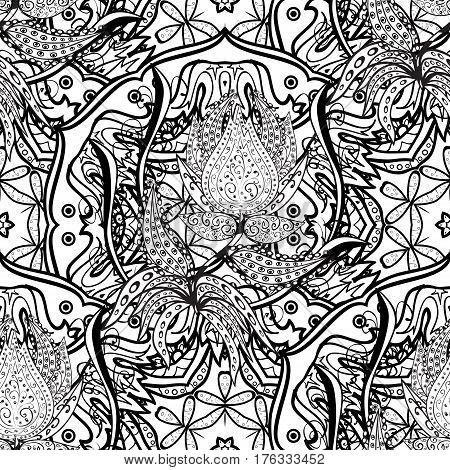 Seamless royal luxury white baroque damask vintage. Vector seamless pattern with antique floral medieval decorative leaves and white pattern ornaments on background.