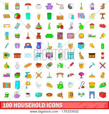100 household icons set in cartoon style for any design vector illustration