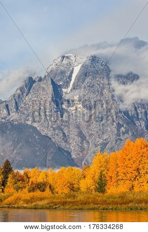 a scenic landscape in Grand Teton National Park Wyoming in fall