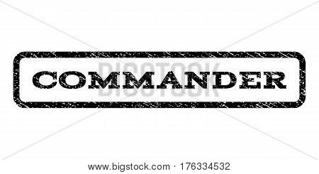 Commander watermark stamp. Text tag inside rounded rectangle frame with grunge design style. Rubber seal stamp with dust texture. Vector black ink imprint on a white background.