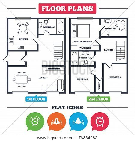 Architecture plan with furniture. House floor plan. Alarm clock icons. Wake up bell signs symbols. Exclamation mark. Kitchen, lounge and bathroom. Vector