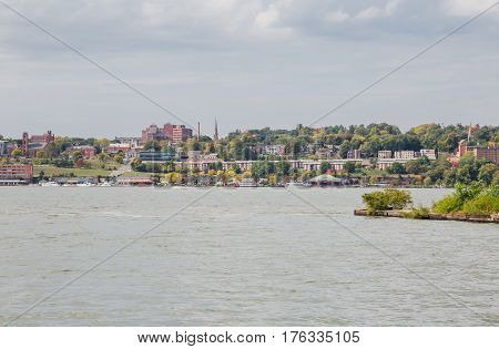 View of Newburgh riverfront from Long Dock Park in Beacon New York.