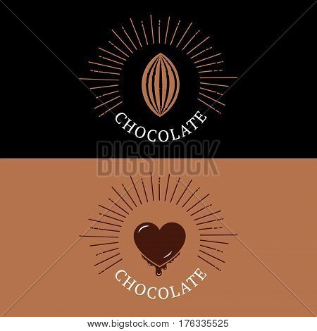 Set of chocolate logo, emblem, badge or label with cocoa bean and heart. Vintage retro style. Isolated on background. Vector illustration.