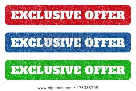 Colored rubber seal stamps with Exclusive Offer text hole. Vector caption inside rounded rectangular shape. Grunge design and scratched texture for watermark labels. Blue green red scratched sign.