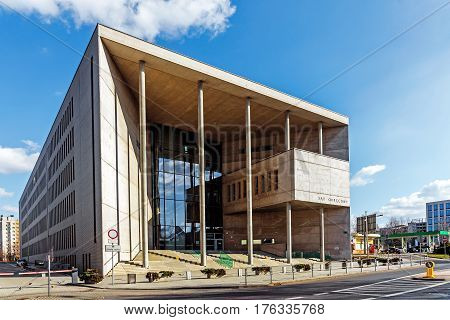 KATOWICE, POLAND - MARCH 13, 2017: Building of District Court in. Designed as monumental according to the function, won the award for best public space of Silesian Province in 2010.