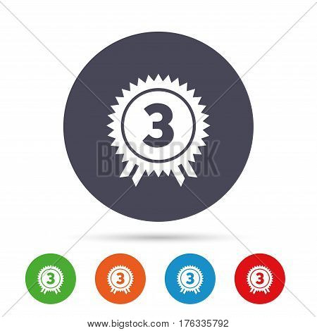 Third place award sign icon. Prize for winner symbol. Round colourful buttons with flat icons. Vector