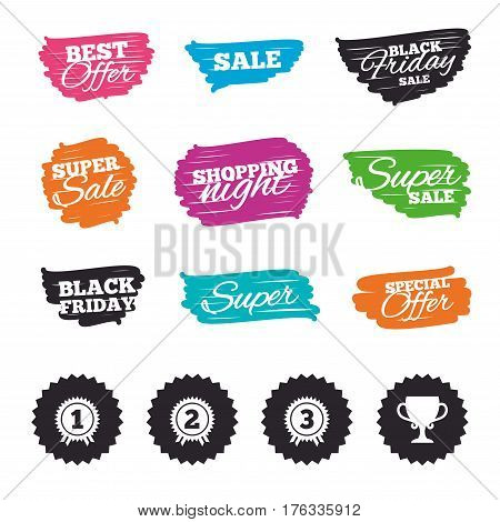 Ink brush sale banners and stripes. First, second and third place icons. Award medals sign symbols. Prize cup for winner. Special offer. Ink stroke. Vector