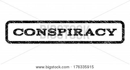 Conspiracy watermark stamp. Text caption inside rounded rectangle frame with grunge design style. Rubber seal stamp with dirty texture. Vector black ink imprint on a white background.