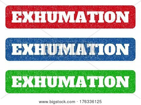 Colored rubber seal stamps with Exhumation text hole. Vector message inside rounded rectangular banner. Grunge design and unclean texture for watermark labels. Blue green red scratched sign.