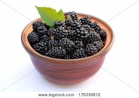 Ripe blackberry in a bowl of red clay isolated on a white background