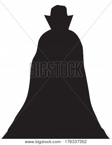 A Dracula Silhouette isolated on a white background