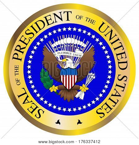 A Presidential seal design isolated on a white background