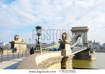 Chain Bridge In Budapest. Szechenyi Lanchid Is A Bridge Over The River Danube.
