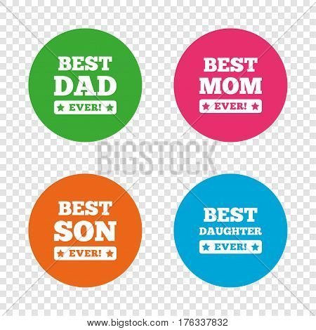 Best mom and dad, son and daughter icons. Awards with exclamation mark symbols. Round buttons on transparent background. Vector