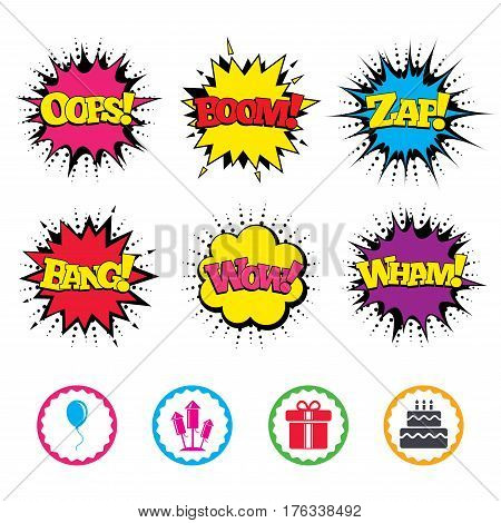 Comic Wow, Oops, Boom and Wham sound effects. Birthday party icons. Cake and gift box signs. Air balloons and fireworks rockets symbol. Zap speech bubbles in pop art. Vector