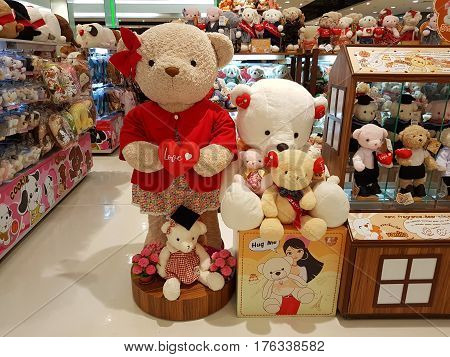 CHIANG RAI THAILAND - FEBRUARY 2 : Department store interior view with teddy bear zone at Central Plaza on February 2 2017 in Chiang rai Thailand.