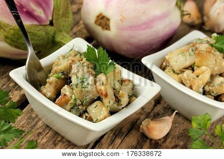 Fried eggplant with garlic parsley and mayonnaise