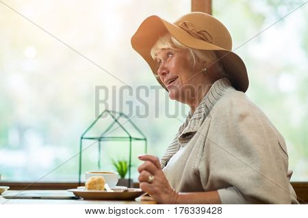 Senior woman in cafe. Coffee cup and cake. Tasty dessert and interesting conversation.