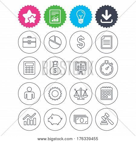 Download, light bulb and report signs. Business icons. Businessman, briefcase and documents symbols. Presentation pie chart, money bag and justice scales thin outline signs. Dollar USD currency