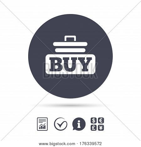 Buy sign icon. Online buying cart button. Report document, information and check tick icons. Currency exchange. Vector