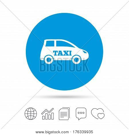 Taxi car sign icon. Hatchback symbol. Transport. Copy files, chat speech bubble and chart web icons. Vector
