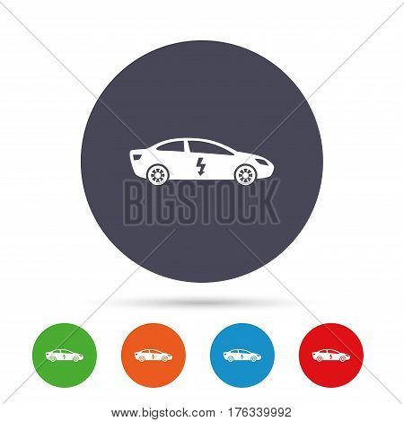 Electric car sign icon. Sedan saloon symbol. Electric vehicle transport. Round colourful buttons with flat icons. Vector