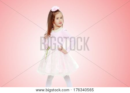 Dressy little girl long blonde hair, beautiful pink dress and a rose in her hair.She keeps hands on hips.Pale pink gradient background.