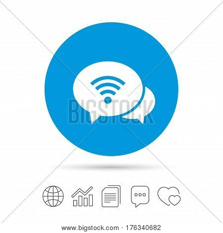 Chat speech bubbles. Wifi sign. Wi-fi symbol. Wireless Network icon. Wifi zone. Copy files, chat speech bubble and chart web icons. Vector