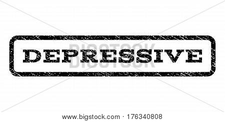 Depressive watermark stamp. Text caption inside rounded rectangle with grunge design style. Rubber seal stamp with dust texture. Vector black ink imprint on a white background.