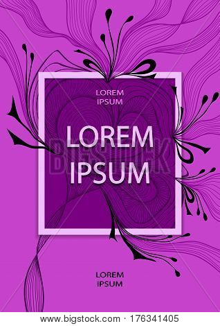 Template flyer or cover design with abstract flower bows waves or hair  in lilac colors for advertising perfume cosmetic shampoo or for decoration package or for  label  banner and others