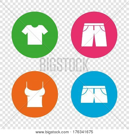 Clothes icons. T-shirt and pants with shorts signs. Swimming trunks symbol. Round buttons on transparent background. Vector