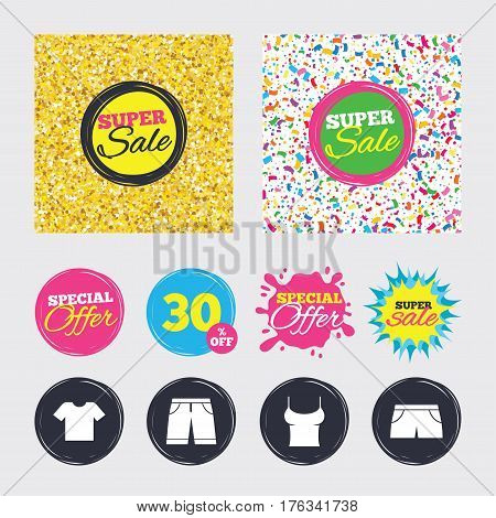 Gold glitter and confetti backgrounds. Covers, posters and flyers design. Clothes icons. T-shirt and bermuda shorts signs. Swimming trunks symbol. Sale banners. Special offer splash. Vector